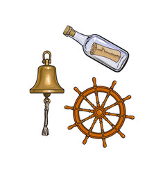 Ship bell steering wheel and message in bottle vector