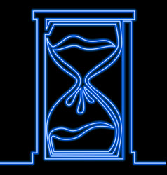 Single continuous line hourglass neon concept vector