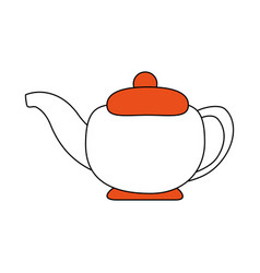 sketch color silhouette tea kettle for hot drinks vector image