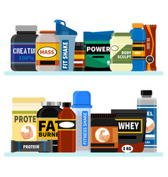 Sports nutrition supplement on shelf fitness vector