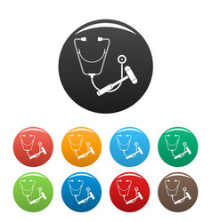 Stethoscope hammer icons set color vector