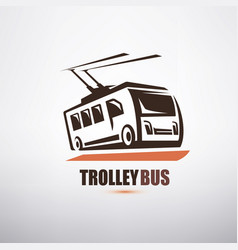 stylized cartoon trolleybus symbol city transport vector image