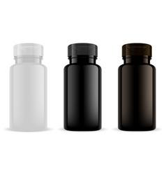 Supplement bottle vitamin pill jar mockup 3d vector