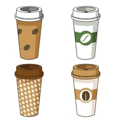 Take away coffee cup set vector