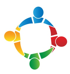 Teamwork in a hug logo vector image
