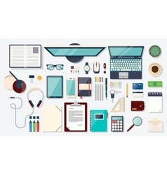 Top view elements Desk background with laptop vector