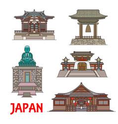 travel landmarks japan thin line buildings vector image