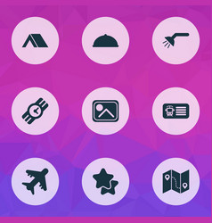 Trip icons set with food aircraft shower and vector