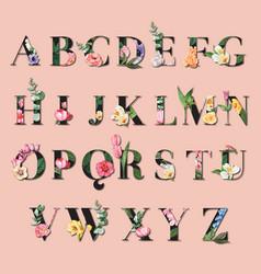 Tropical alphabet serif font yellow typographic vector