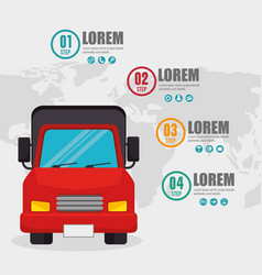 truck transport infographic card vector image