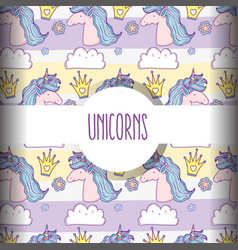 unicorn animal with crown and flower background vector image