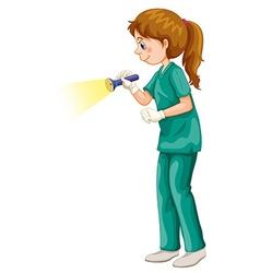 Vet in green uniform flashing the light vector