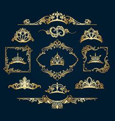 Victorian style golden decor elements vector