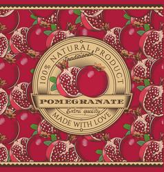 vintage pomegranate label on seamless pattern vector image