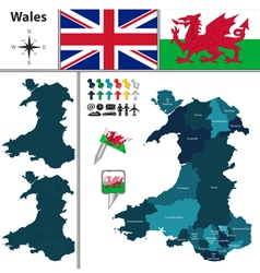 Wales map with regions vector