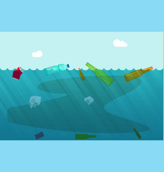 Water pollution concept with garbage trash vector