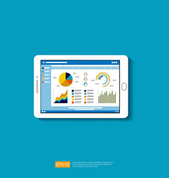 Web statistics analytic charts on mobile device vector