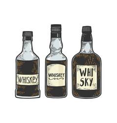 whiskey bottles sketch engraving vector image
