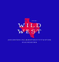 wide serif font in wild west style vector image