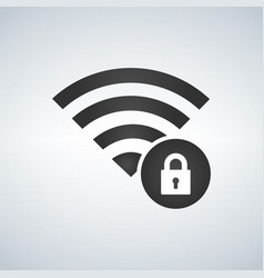 Wifi connection signal icon with lock in the vector