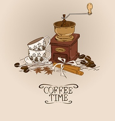 With vintage coffee grinder and cups vector
