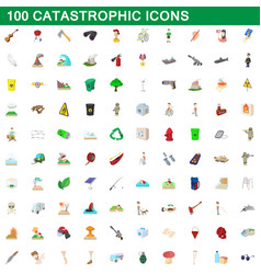100 catastrophic icons set cartoon style vector image vector image