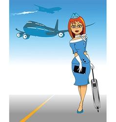 Air Hostess vector image vector image