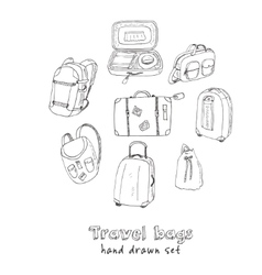 Black contours of different travel bags and vector image vector image