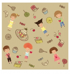 cakes and sweets cartoon vector image vector image