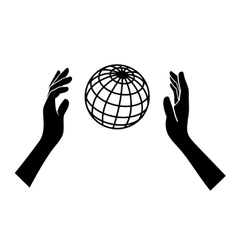 Globe Icon with Hands on White Background vector image vector image