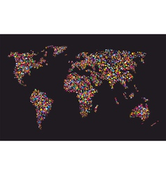 Grunge colourful collage of world map vector image vector image