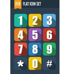 Set of flat icons with drop shadow vector image