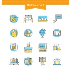 Set of Icons Back to School Flat Style vector image