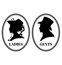 vintage toilet wc sign with lady and vector image