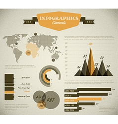 Yellow retro vintage set of Infographic elements vector image vector image