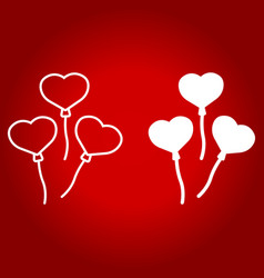 heart shaped balloons line and glyph icon vector image