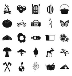 hiking in the wilderness icons set simple style vector image