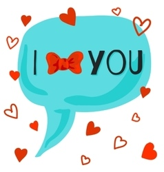I love you card with bow-knot vector image