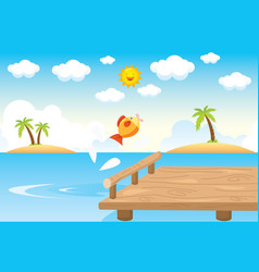 pier sea and fish vector image