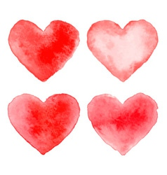 Set of Colorful Red Watercolor Hearts vector image vector image