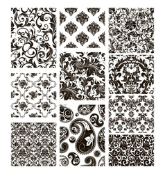 Set of ten patterns black silhouettes vector image