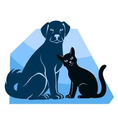 Cat and dog sitting silhouettes vector image