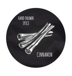 cinnamon sketch in blackboard round vector image vector image