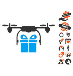 drone gift delivery icon with valentine bonus vector image vector image