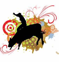 Grunge bull ride vector