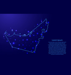 Map of united arab emirates from the contours blue vector