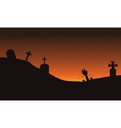Scary hand zombie in tomb halloween backgrounds vector image