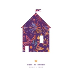 textured christmas stars house silhouette pattern vector image vector image