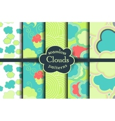 Bright colorful cartoon sky and clouds seamless vector