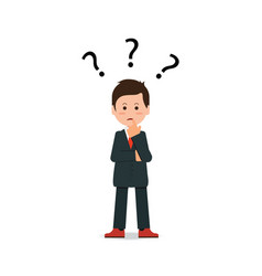 businessman with question mark pondering problem vector image